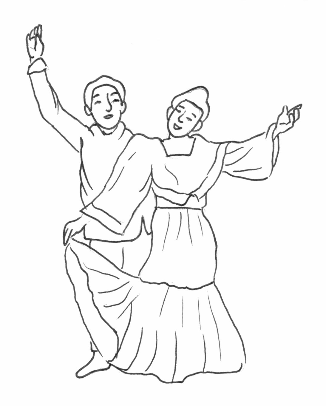Dance on zoo scene coloring page